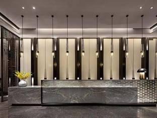上上国际设计新中式吧台前台接待