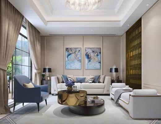 1000套空间酷赠送模型, 现代, 吊灯, 落地灯, 多人沙发, 摆件, 单人沙发
