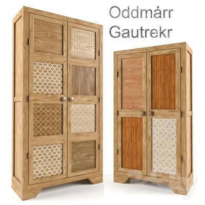 下得乐品牌模型库, 中式, 实木衣柜, 衣柜