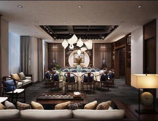 下得乐2019季千套模型, 中式, 餐厅, 桌椅组合