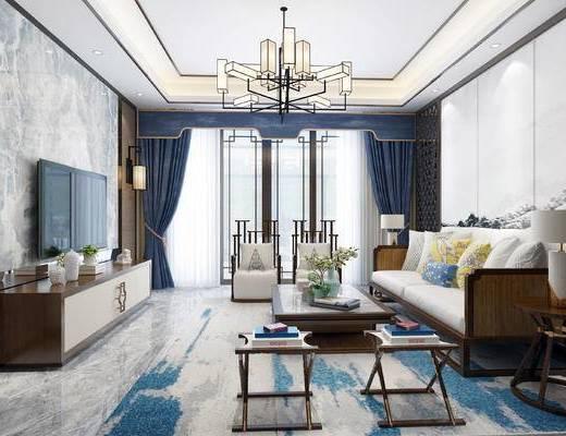 下得乐2019季千套模型, 中式, 客厅, 餐厅, 多人沙发, 沙发, 吊灯, 茶几