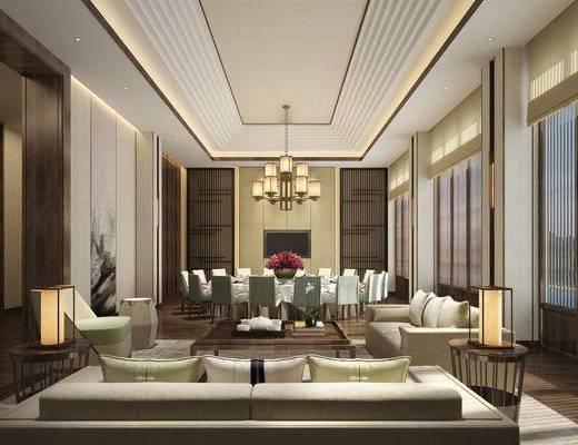 下得乐2019季千套模型, 中式, 餐厅, 单椅, 餐桌, 吊灯