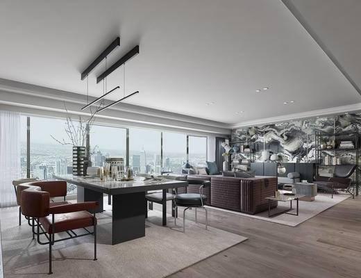 1000套空间酷赠送模型, 现代, 客餐厅, 多人沙发, 装饰柜架, 吊灯, 餐桌, 餐椅, 摆件