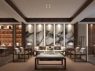 亚龙府合院尔雅新中式茶室洽谈区_3d模型