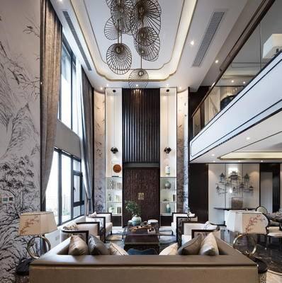 1000套空间酷赠送模型, 中式, 多人沙发, 茶几, 单人沙发, 摆件, 客厅