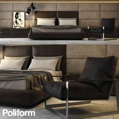 下得乐品牌模型库, 北欧, 双人床