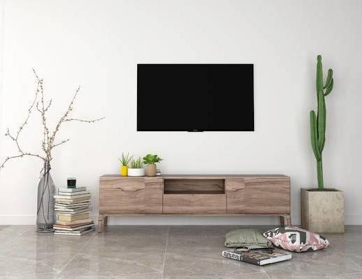 北欧, 电视柜, 盆栽, 摆件, 书籍