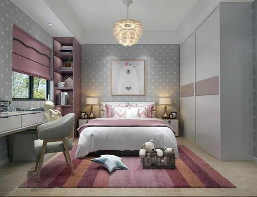 下得乐2019季千套模型, 北欧, 卧室, 单人床, 单椅