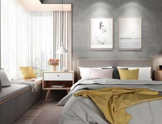 下得乐2019季千套模型, 北欧, 床具组合, 双人床