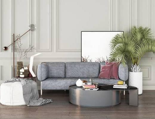 下得乐2019季千套模型, 北欧, 沙发组合, 多人沙发