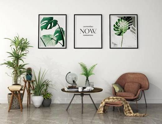 多人沙发, 北欧, 茶几, 挂画, 盆栽, 摆件