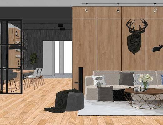 北欧, 客厅, 餐厅, 多人沙发, 餐桌, 单椅