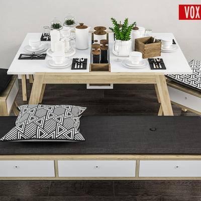 下得乐品牌模型库, 北欧, 桌椅组合, 餐桌