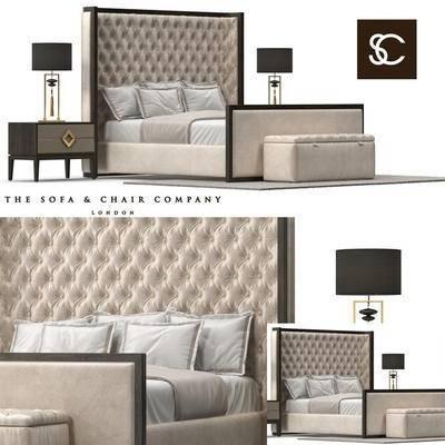 2000套高精3D单体模型, 后现代, 双人床, 家具, 床具, 边柜, 台灯