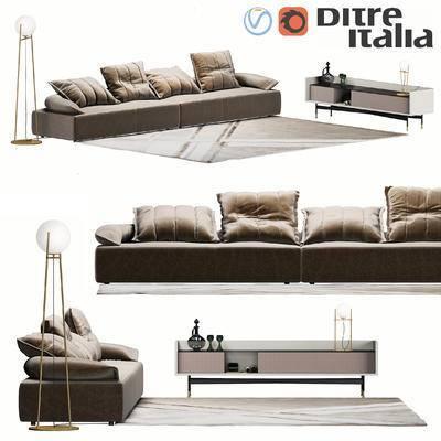 2000套高精3D单体模型, 后现代, 多人沙发, 沙发, 茶几, 落地灯