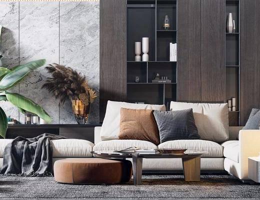 下得乐2019季千套模型, 后现代, 客厅, 茶几, 多人沙发, 沙发