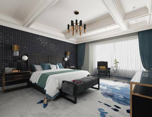 下得乐2019季千套模型, 新中式, 卧室, 吊灯, 双人床, 边柜, 台灯