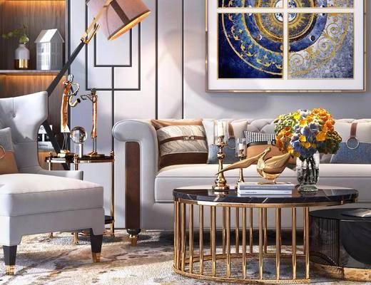 下得乐2019季千套模型, 后现代, 多人沙发, 单人沙发, 茶几, 摆件, 落地灯, 挂画