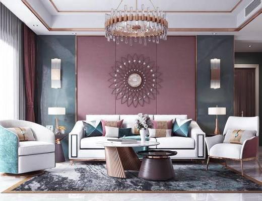 下得乐2019季千套模型, 后现代, 多人沙发, 吊灯, 单人沙发, 茶几, 摆件