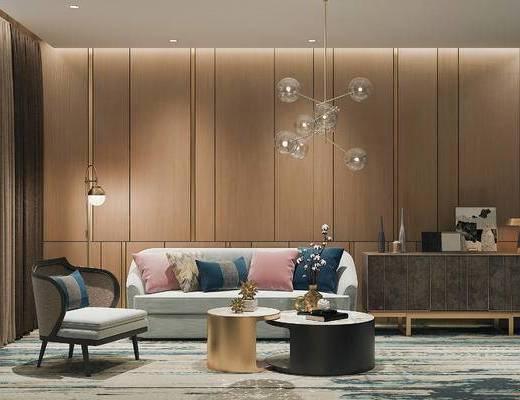 下得乐2019季千套模型, 后现代, 茶几, 多人沙发, 单人沙发