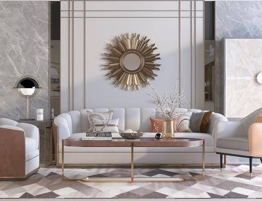下得乐2019季千套模型, 后现代, 客厅, 多人沙发, 茶几, 挂壁镜, 单人沙发