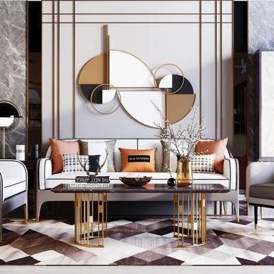 下得乐2019季千套模型, 后现代, 沙发, 茶几, 多人沙发, 单人沙发