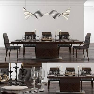 2000套国外模型, 后现代, 餐桌, 桌椅组合, 单椅, 餐椅
