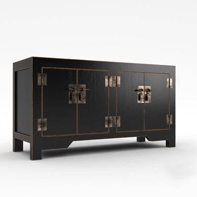 下得乐品牌模型库, 新中式, 复古柜子, 边柜