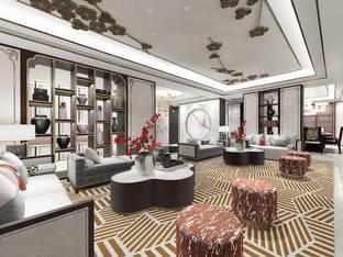 天鼓装饰设计新中式会客室_3d模型