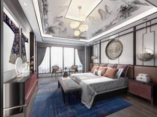天鼓装饰设计新中式酒店客房_3d模型