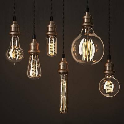 2000套高精3D单体模型, 工业风, 灯泡, 吊灯, 灯饰