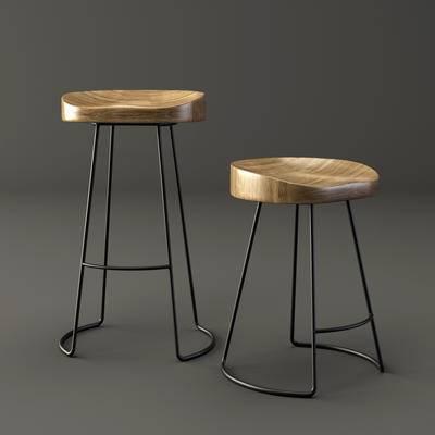 下得乐品牌模型库, 工业风, 吧椅, 吧凳