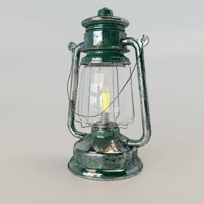 2000套高精3D单体模型, 工业风, 台灯, 灯饰, 装饰灯