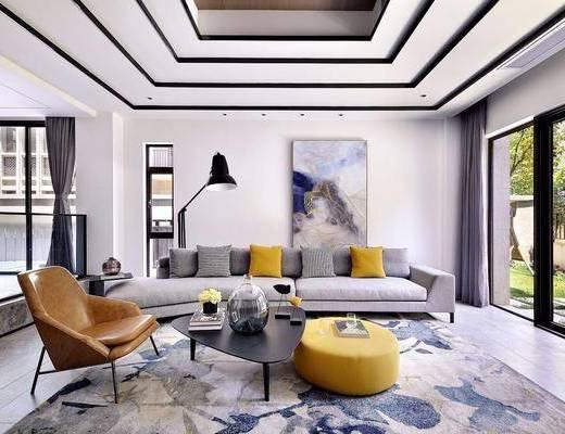 1000套空间酷赠送模型, 现代, 客厅, 多人沙发, 单人沙发, 沙发凳, 落地灯, 挂画, 茶几, 摆件