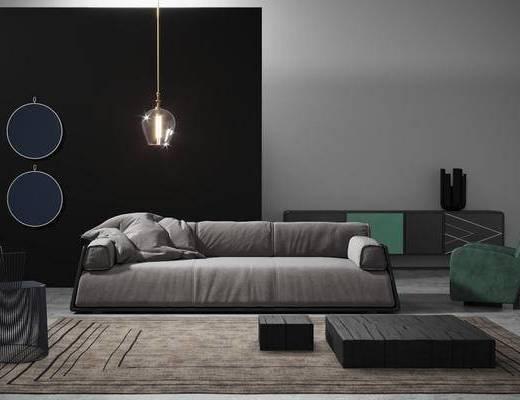 1000套空间酷赠送模型, 现代, 布艺沙发, 多人沙发, 茶几, 吊灯, 边柜, 摆件, 单人沙发