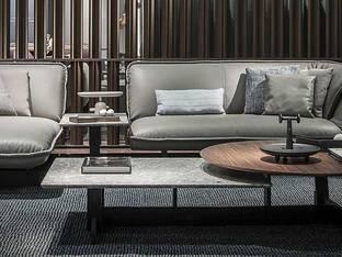 意大利Cassina品牌现代皮革沙发茶几组合3D模型