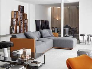 意大利Meridiani现代红色沙发茶几落地灯组合3D模型