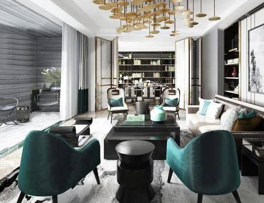 1000套空间酷赠送模型, 新中式, 多人沙发, 单人沙发, 茶几, 摆件, 客厅