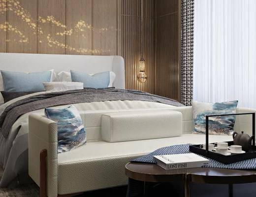 下得乐2019季千套模型, 新中式, 卧室, 主人房, 双人床