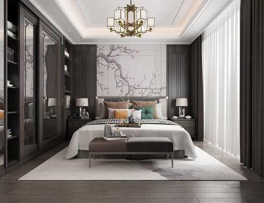 下得乐2019季千套模型, 新中式, 卧室, 双人床, 边柜, 台灯