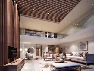新中式复式别墅客厅3D模型_3d模型