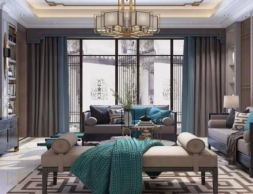 下得乐2019季千套模型, 新中式, 客厅, 多人沙发, 沙发