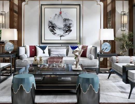 下得乐2019季千套模型, 新中式, 客厅, 圆凳, 单椅, 多人沙发