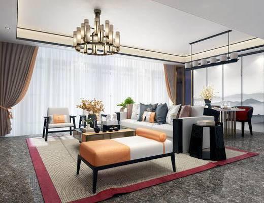 下得乐2019季千套模型, 新中式, 客厅, 餐厅, 吊灯, 多人沙发, 沙发