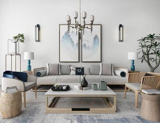 下得乐2019季千套模型, 新中式, 客厅, 吊灯, 多人沙发