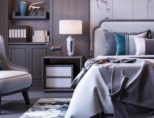 下得乐2019季千套模型, 新中式, 床具, 双人床, 单人沙发
