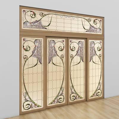 下得乐品牌模型库, 新中式, 扇门, 双开门, 门