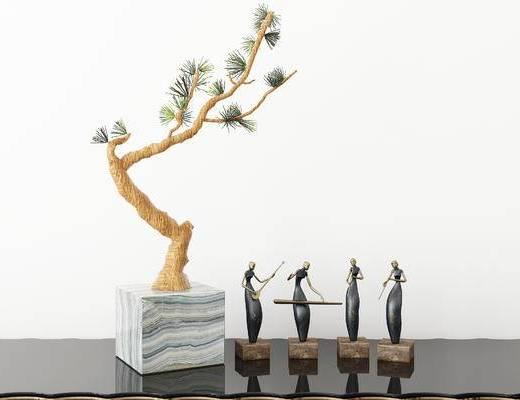下得乐2019季千套模型, 新中式, 盆栽, 摆件, 雕塑