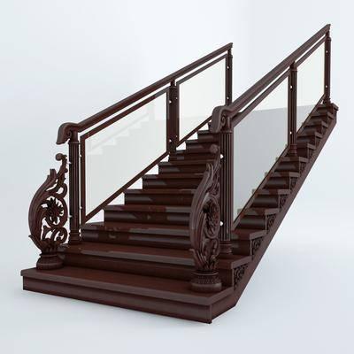 2000套高精3D单体模型, 下得乐品牌模型库, 新中式, 楼梯