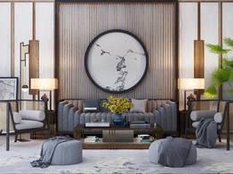 新中式沙发茶几单椅摆件沙发凳组合
